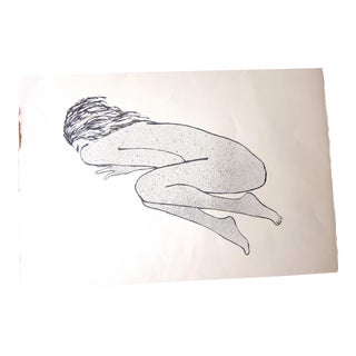 """1970s Vintage Suzanne Peters """"Sleeping Woman"""" Original Black and White Aquatint Lithograph For Sale"""