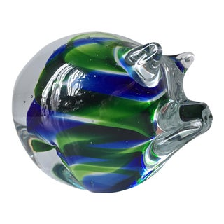 Vintage Moretti Crystal Pig Paperweight