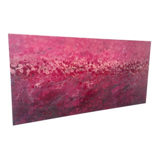 """Marie Danielle Leblanc """"Riviere Aux Cerises"""" Large Abstracted Landscape Hi-Gloss Painting in Pink, White For Sale"""