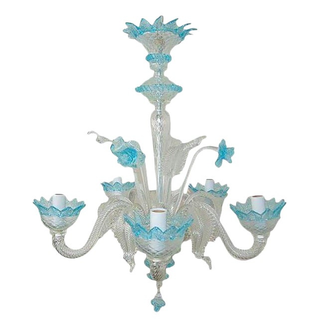 Chandelier Vintage Murano Glass Clear Blue For Sale