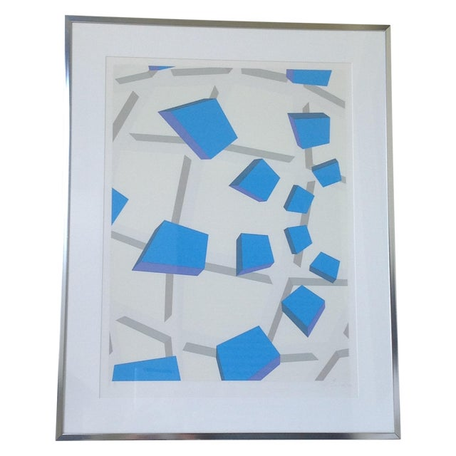 Original Signed Abstract Geometric Lithograph - Image 1 of 11