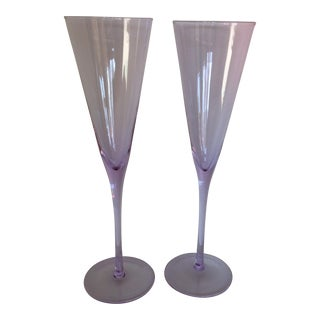 "Vintage 11"" Tall Lavender Hand Blown Champagne Flutes - a Pair For Sale"
