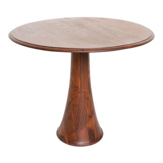 Mid-Century Modern Solid Walnut Sculptural Round Table For Sale