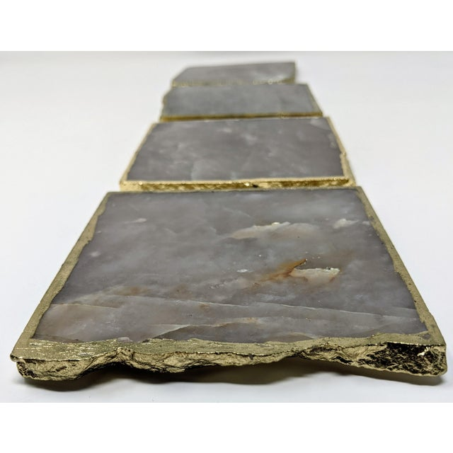 Organic Modern Smoke Gray Agate Coasters With Gold Metal Edge - Set of Four (4) For Sale - Image 9 of 12