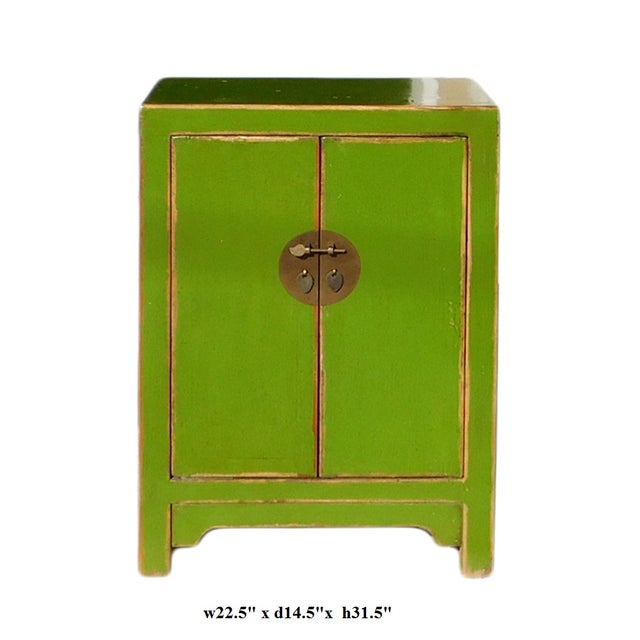 Chinese Rustic Lime Green End Table Nightstand - Image 6 of 6