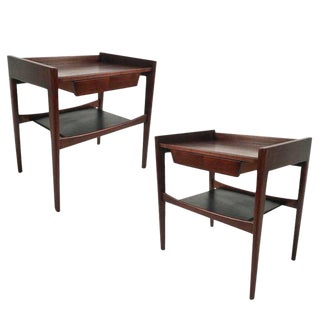 Pair of Stilted Jens Risom End / Lamp Tables /Nightstands in Walnut and Leather
