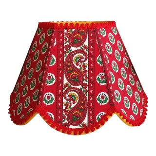 Red Paisley Clip on French Pierre Deux Style Foulard Stripe Lampshade For Sale