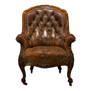 Victorian Style English Country House Leather Library Armchair With Nail Head Trim For Sale