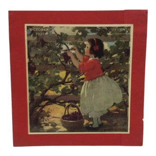 "1930s Vintage ""October 1927 - 25 Cents"" Jessie Willcox Smith Mounted Print For Sale"