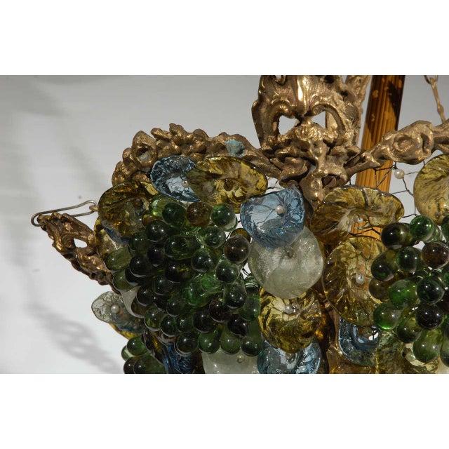 Art Deco Art Glass & Brass Chandelier For Sale - Image 9 of 9
