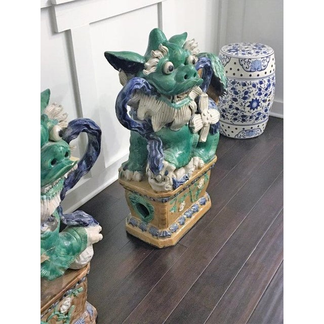 Antique Green & Blue Foo Dogs - A Pair - Image 5 of 5