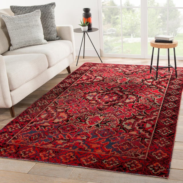 """2020s Jaipur Living Chaya Indoor Outdoor Medallion Red Black Area Rug 5'3""""X7'6"""" For Sale - Image 5 of 7"""