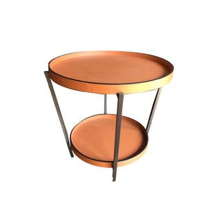 French Circle in the Round Leather Side Table For Sale