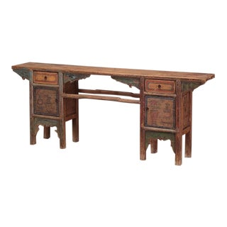 Antique Chinese Painted Pine Altar Table For Sale