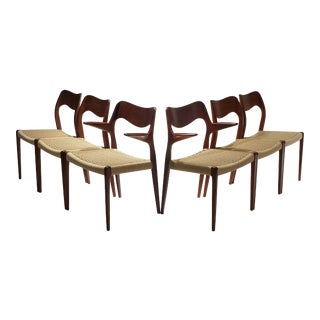 Vintage Niels Moller Dining Chairs Model 55 and Model 71 in Teak - Set of 6 For Sale