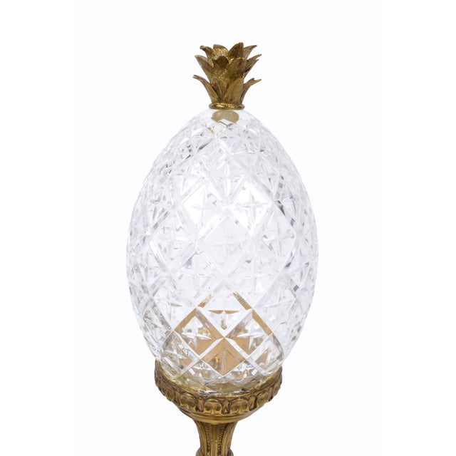 1960s Maitland-Smith Bronze and Crystal Pineapple Ornaments, Germany, a Pair For Sale - Image 5 of 9
