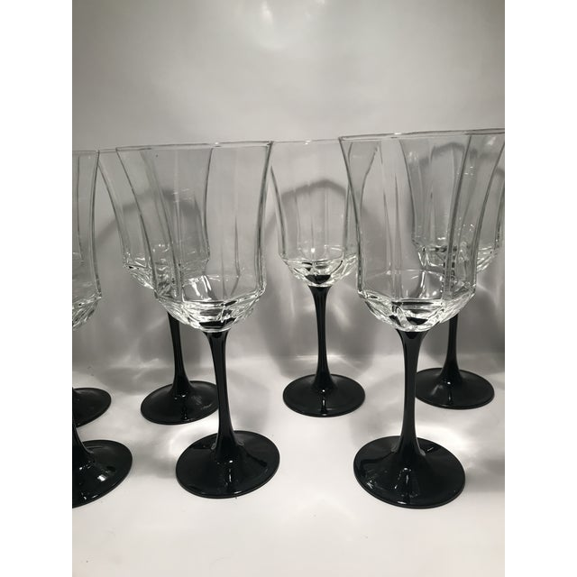 Vintage Black Stem Wine Water Glasses Made in France. Set of 7. Also available in champagne Flutes.