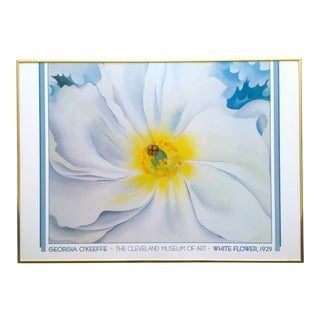 "Georgia O'Keeffe Rare Vintage 1988 Lithograph Print Framed Museum Poster "" White Flower "" 1929 For Sale"