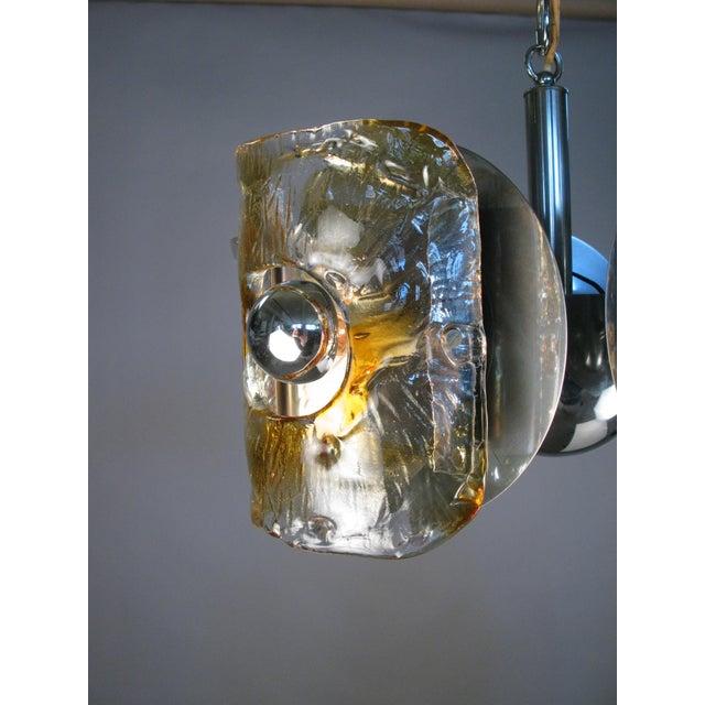 Metal 1960s Italian Glass & Chrome Murano Chandelier For Sale - Image 7 of 9