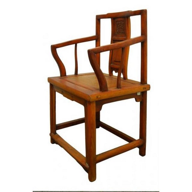 Antique Chinese Carved and Lacquered Elmwood Chair From the 19th Century -  Image 4 of 9 - Luxury Antique Chinese Carved And Lacquered Elmwood Chair From The