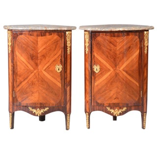 Louis XVI Ormolu Marble Top Encoignures - A Pair