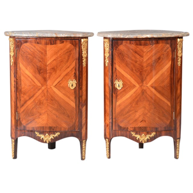 Louis XVI Ormolu Marble Top Encoignures - A Pair For Sale