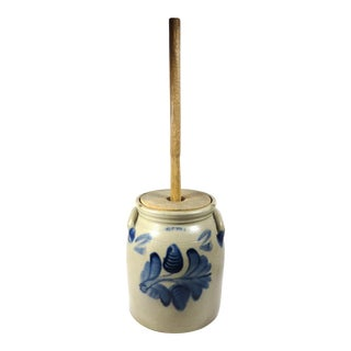 1870s Antique American Stoneware Butter Churn For Sale