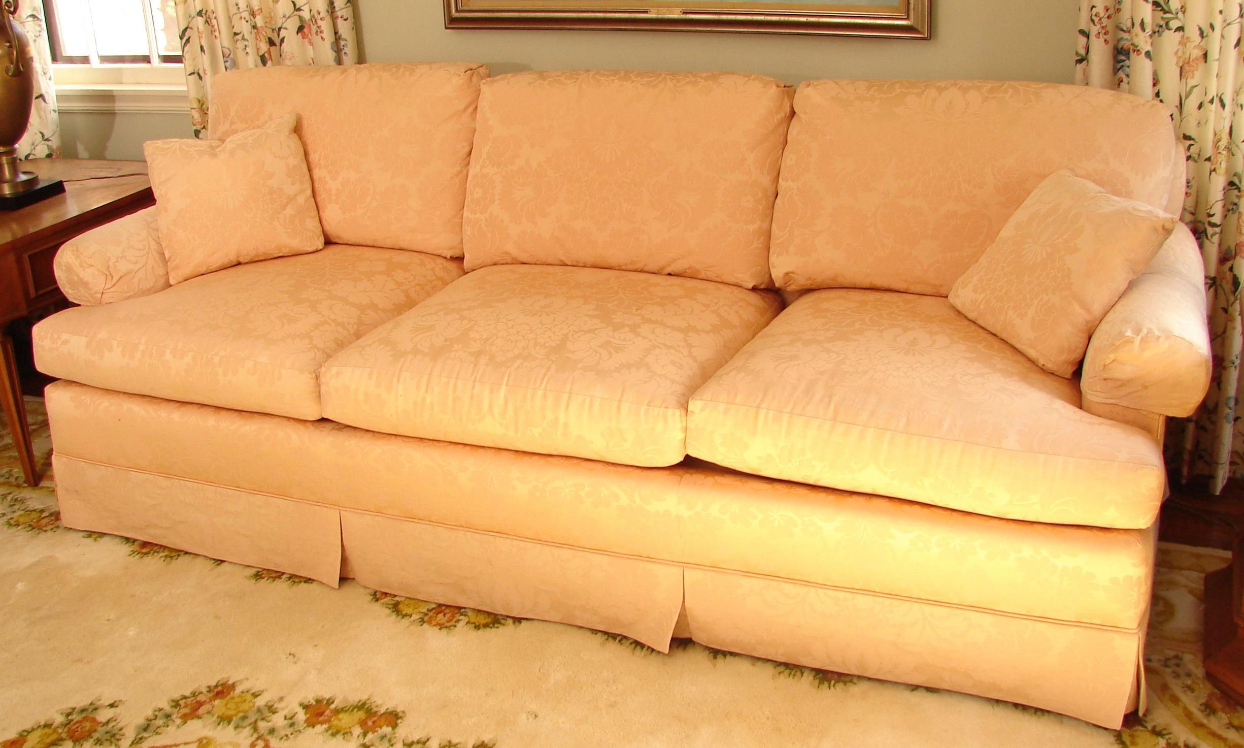 Hollywood Regency Vintage Baker Furniture Pink Damask 3 Seat Down Filled  Sofa For Sale   Image