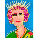 """Image of """"Portrait of Queen Elizabeth II"""" Contemporary Expressionist Style Mixed-Media Portrait Painting For Sale"""