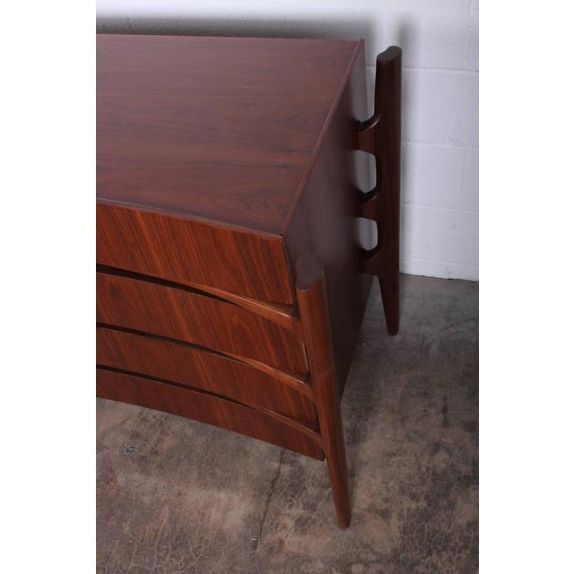 Walnut Curved Front Dresser Designed by William Hinn - Image 7 of 10