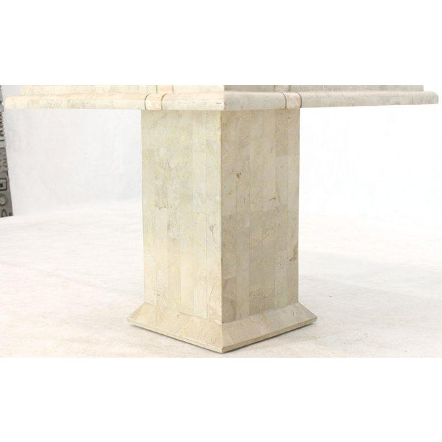 Mid-Century Modern Pair of Tessellated Stone Tile Square Pedestal Shape End Side Tables Stands - a Pair For Sale - Image 3 of 11