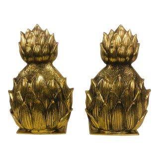 Brass Pineapple Design Bookends - a Pair For Sale