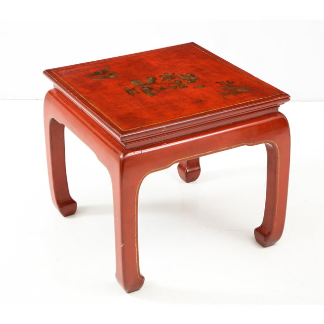 Chinoiserie Red Lacquered End Tables - a Pair For Sale - Image 4 of 10