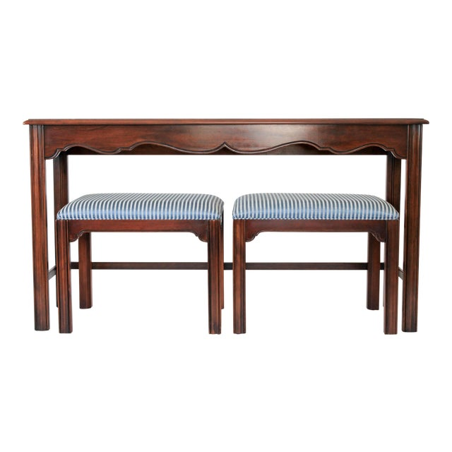 Drexel Heritage Console or Sofa Table W/ Benches - 3 Pc. Set For Sale