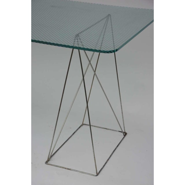 Late 20th Century Minimalist Steel and Glass Trestle Table For Sale - Image 5 of 8