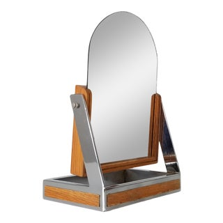 Mid-Century Chrome and Wood Vanity Mirror For Sale