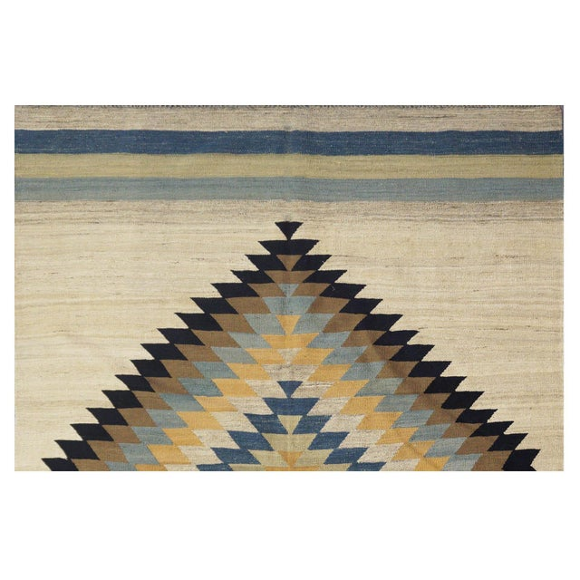 "Afghan New Afghan Kilim Rug - 6'7"" x 9'7"" For Sale - Image 3 of 5"