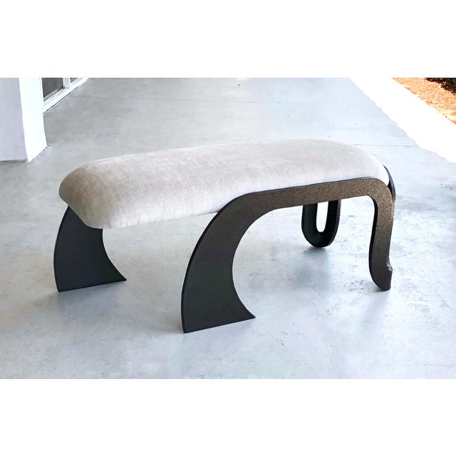 Pair of Abstract Modern Heavy Bronze Enamel Benches Ottomans, 1980s For Sale - Image 10 of 13