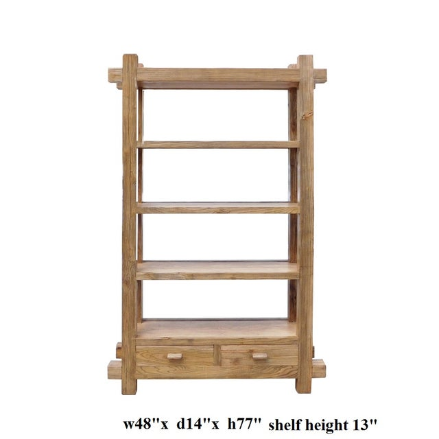 Rustic Raw Wood Open Shelf Bookcase For Sale - Image 4 of 4