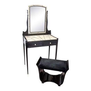 Art Deco Shagreen Maurice Dufrene Vanity & Bench - a Pair
