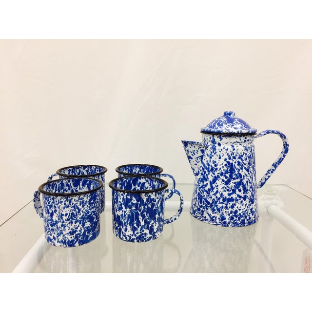 Blue & White Paint Splattered Enamel 5-Piece Tea Set For Sale - Image 4 of 11