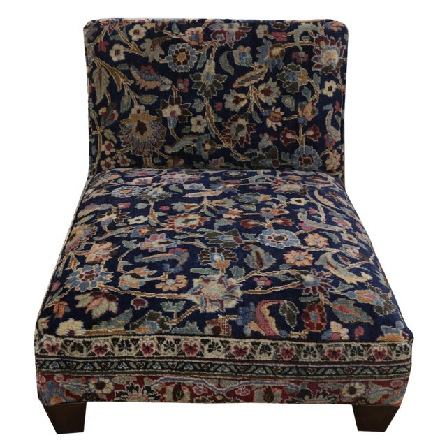 1880s Persian Low Profile Slipper Chair or Petbed From Antique Khorassan Rug For Sale
