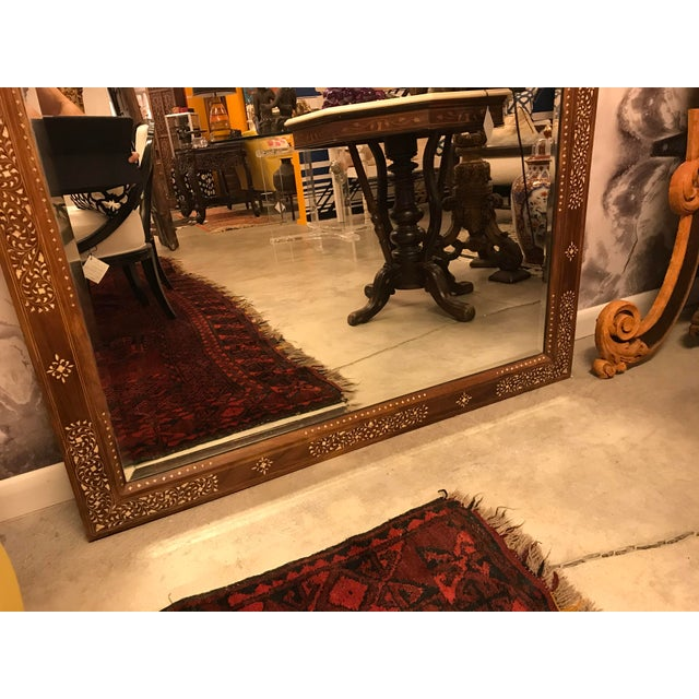Modern Large Teak Mirror With Bone Inlay For Sale - Image 3 of 7