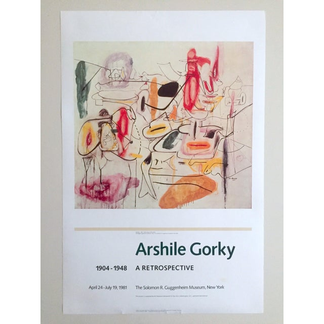 Vintage 1981 Arshile Gorky Original Abstract Lithograph Print Exhibition Poster - Image 9 of 9
