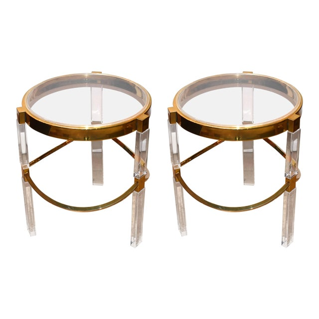 Pair of Charles Hollis Jones Lucite and Brass Side Tables 'Signed' For Sale