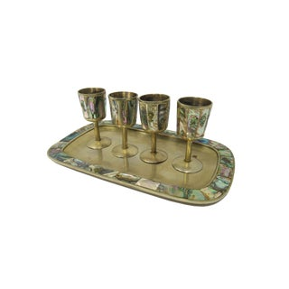 Mexican Modern Alpaca Abalone & Brass Set For Sale