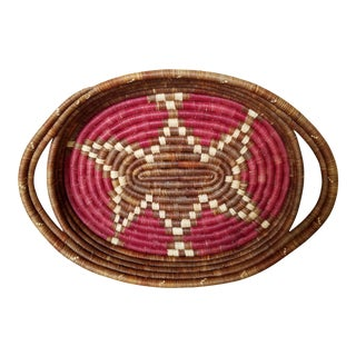 Vintage African Coiled Basket Tray For Sale