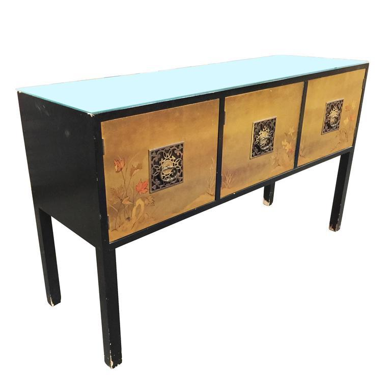 James Mont Style Asian Inspired Console Cabinet With Hand Painted Doors    Image 2 Of