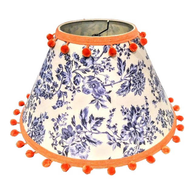 Huge Blue and White Chinoiserie and Orange Ball Trim Custom Lamp Shade For Sale