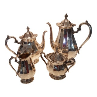 Webster Wilcox English Flutes Silver Plate Coffee and Tea Set - 4 Piece Set For Sale